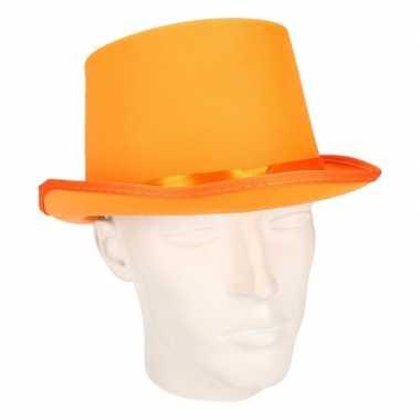 Goedkoop luxe oranje hoge feesthoed carnavalskleding
