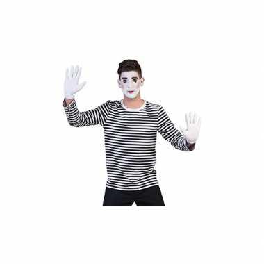 Goedkoop mime thema shirt volwassenen carnavalskleding