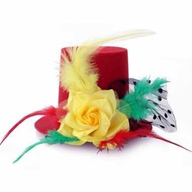 Goedkoop mini hoedje clip carnaval kleuren carnavalskleding
