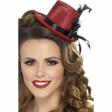 Goedkoop  Mini hoog hoedje rood carnavalskleding