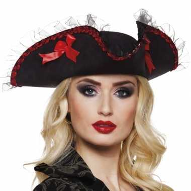 Goedkoop musketiershoed zwart/rood dames carnavalskleding