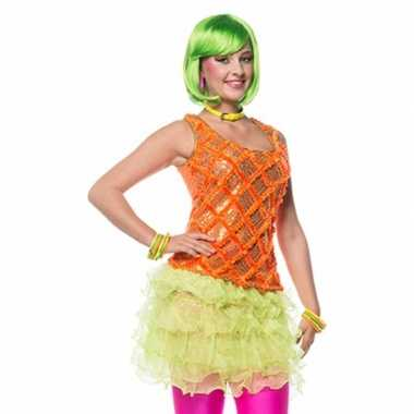 Goedkoop  Neon groen ruches rokje dames carnavalskleding