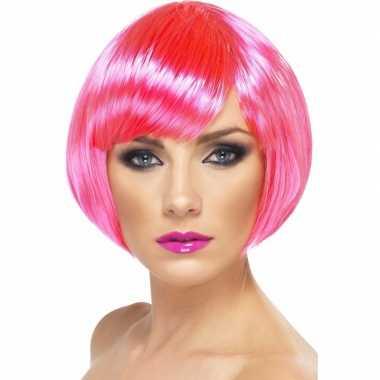 Goedkoop neon roze korte dames pruik boblijn carnavalskleding