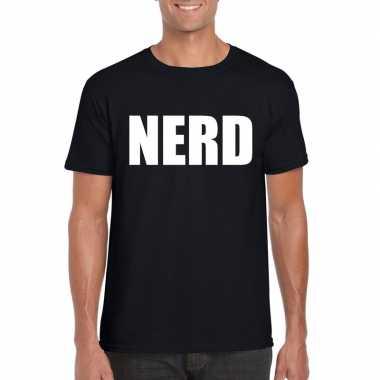 Goedkoop nerd tekst t shirt zwart heren carnavalskleding