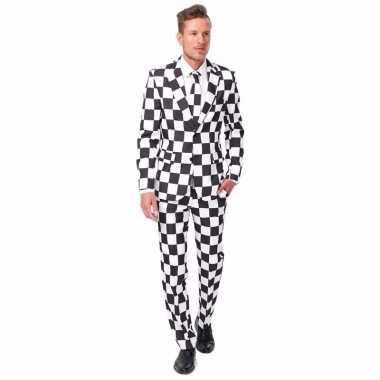 Goedkoop net heren carnavalskleding zwart wit geblokt print