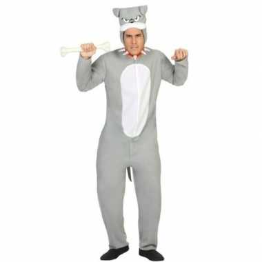 Goedkoop onesie grijze pit bull hond dieren carnavalskleding dames/he