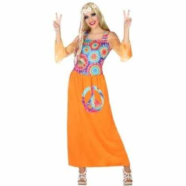Goedkoop oranje flower power jurk dames carnavalskleding