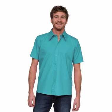 Goedkoop  Overhemd korte mouw heren turquoise carnavalskleding