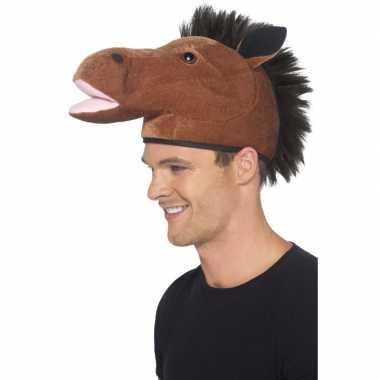 Goedkoop paardenhoofd hoedje volwassenen carnavalskleding