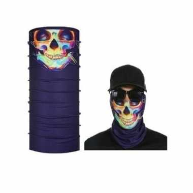 Goedkoop paars biker masker gekleurd skeletprint volwassennen carnava