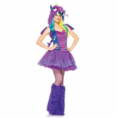 Goedkoop paars sexy draken carnavalskleding dames