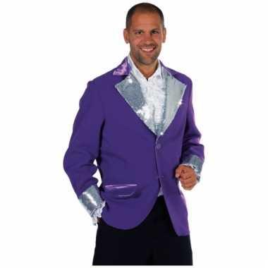 Goedkoop paars zilver glitter jassen heren carnavalskleding