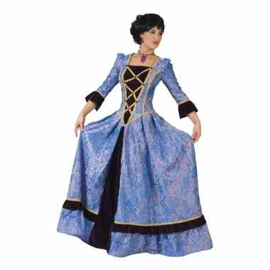 Goedkoop paars/zwarte barok carnavalsjurk dames carnavalskleding