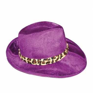 Goedkoop paarse al capone hoed heren carnavalskleding