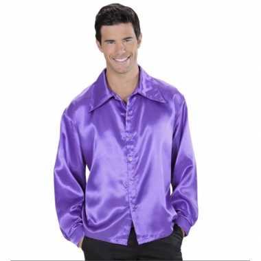 Goedkoop paarse blouse satijn carnavalskleding