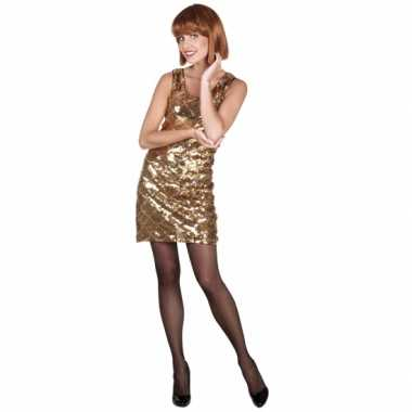 Goedkoop  Pailletten jurkje goud dames carnavalskleding