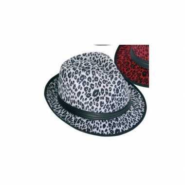 Goedkoop panter print hoed wit trilby model carnavalskleding