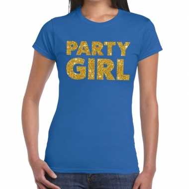 Goedkoop party girl glitter tekst t shirt blauw dames carnavalskledin