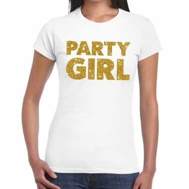 Goedkoop party girl glitter tekst t shirt wit dames carnavalskleding