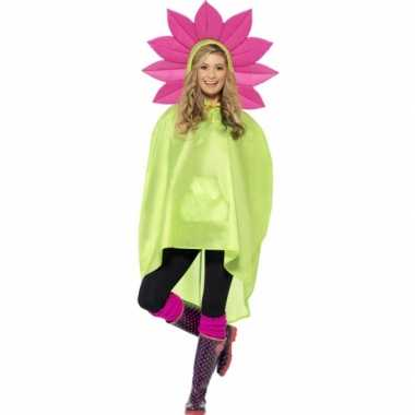 Goedkoop party poncho bloem carnavalskleding