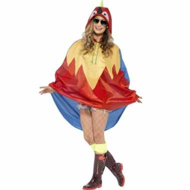 Goedkoop party poncho papegaai carnavalskleding