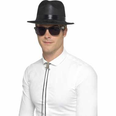 Goedkoop  Plastic gangster hoed plastic carnavalskleding