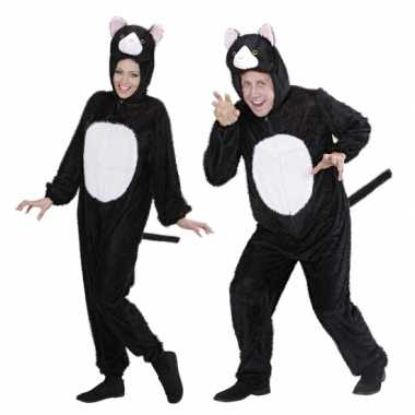 Goedkoop  Pluche dieren kattencarnavalskleding onesie zwart/wit kat