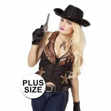 Goedkoop plus size zwarte cowboy vest dames carnavalskleding