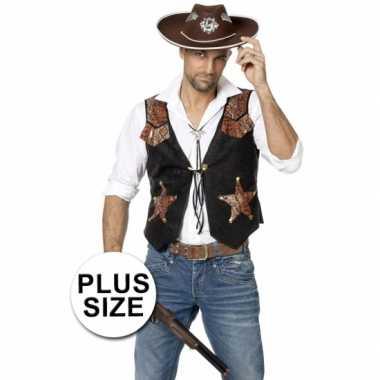 Goedkoop plus size zwarte cowboy vest heren carnavalskleding