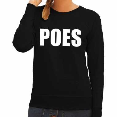 Goedkoop poes tekst sweater / trui zwart dames carnavalskleding
