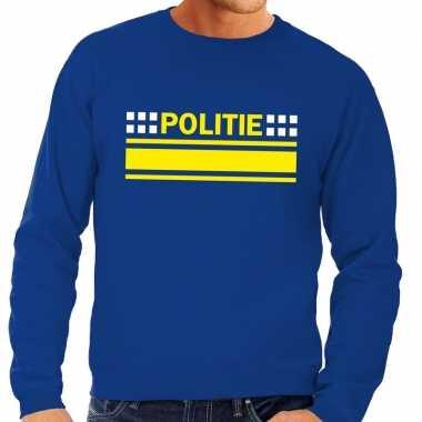 Goedkoop politie logo sweater blauw heren carnavalskleding