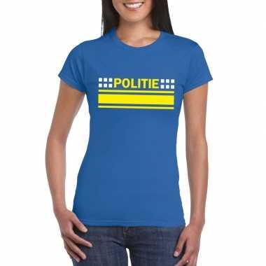 Goedkoop politie logo t shirt blauw dames carnavalskleding