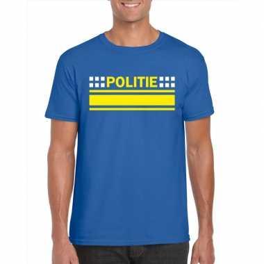 Goedkoop politie logo t shirt blauw heren carnavalskleding