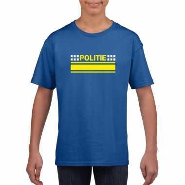 Goedkoop politie logo t shirt blauw kinderen carnavalskleding