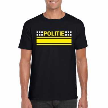 Goedkoop politie logo t shirt zwart heren carnavalskleding
