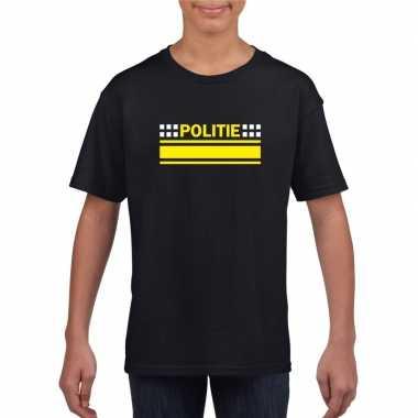 Goedkoop politie logo t shirt zwart kinderen carnavalskleding