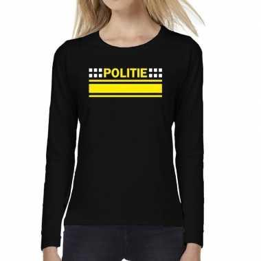 Goedkoop politie logo verkleed t shirt long sleeve zwart dames carnav