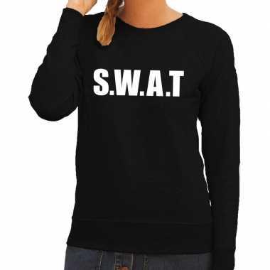 Goedkoop politie swat tekst sweater / trui zwart dames carnavalskledi
