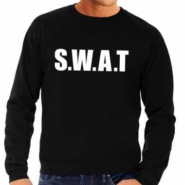 Goedkoop politie swat tekst sweater / trui zwart heren carnavalskledi