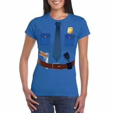Goedkoop politie uniform carnavalskleding t shirt blauw dames