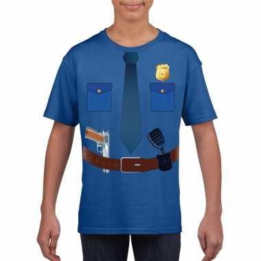Goedkoop politie uniform carnavalskleding t shirt blauw kinderen