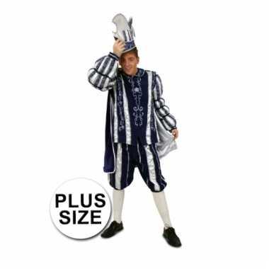 Goedkoop prins carnaval carnavalskleding blauw/wit grote maten