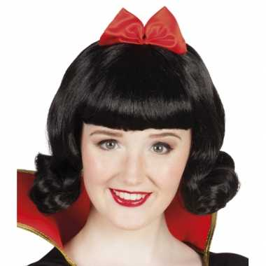 Goedkoop prinses pruik zwart strik carnavalskleding