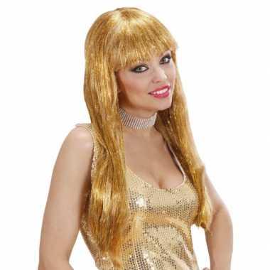 Goedkoop pruik glitter glamour goud carnavalskleding