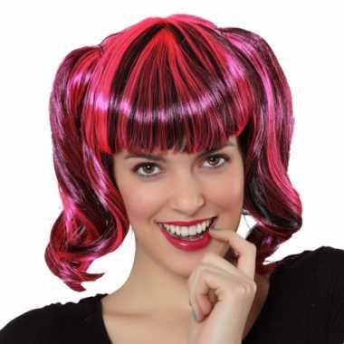 Goedkoop pruik zwart roze haar carnavalskleding