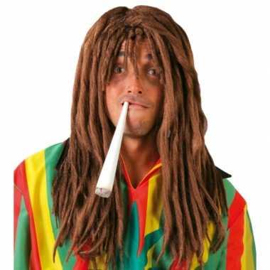 Goedkoop rasta herenpruik bruine dreadlocks carnavalskleding