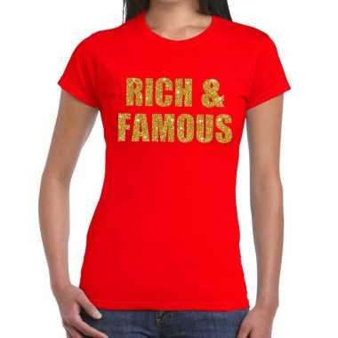 Goedkoop rich and famous glitter tekst t shirt rood dames carnavalskl
