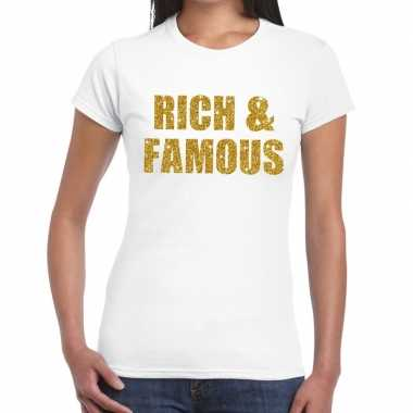 Goedkoop rich and famous glitter tekst t shirt wit dames carnavalskle