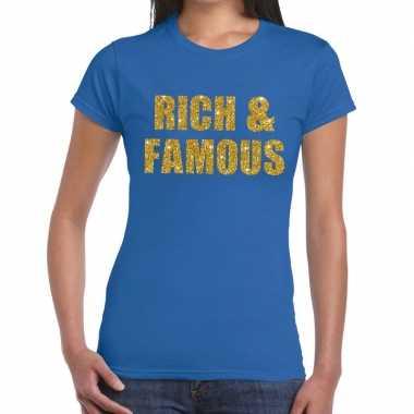 Goedkoop rich and famous gouden glitter tekst t shirt blauw dames car