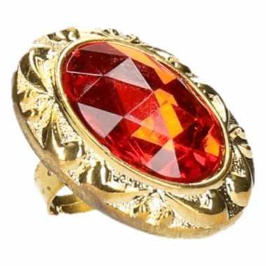 Goedkoop ring grote rode diamant carnavalskleding
